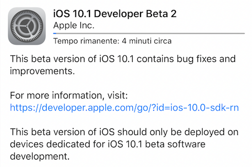 Apple rilascia iOS 10.1 Developer beta 2
