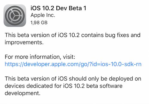 Apple rilascia iOS 10.2 Beta 1 per iPhone, iPad e iPod touch!