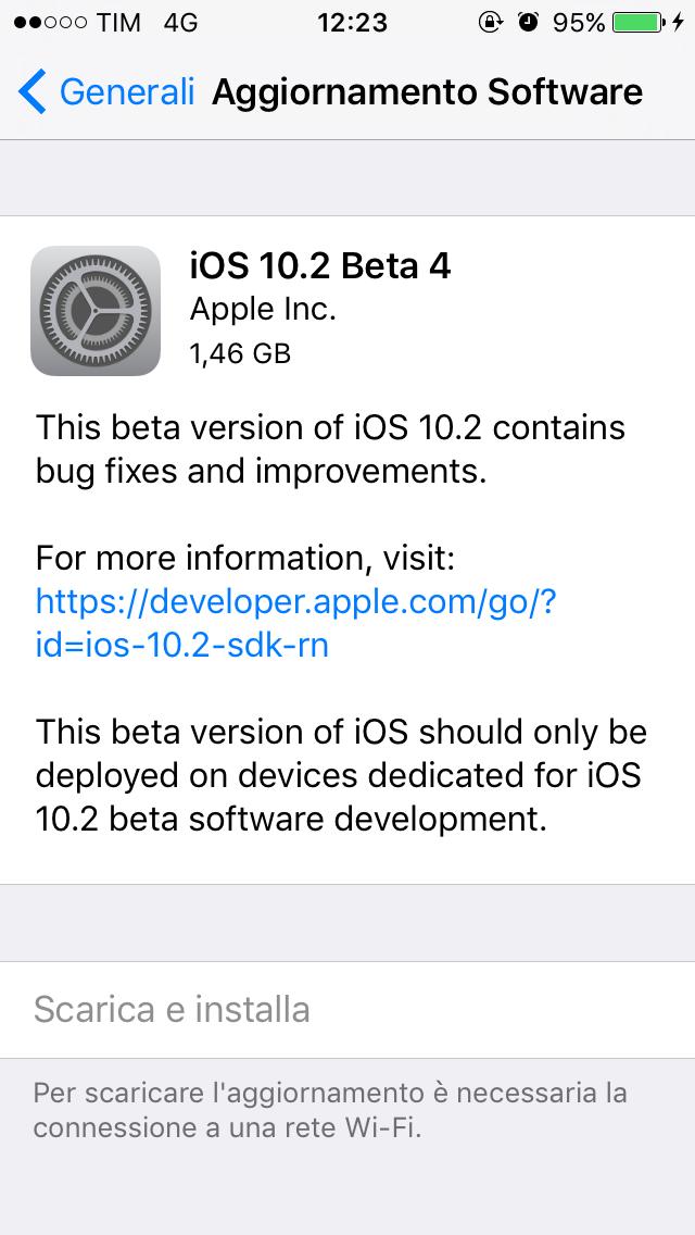 Apple rilascia agli sviluppatori iOS 10.2 Beta 4, macOs 10. 12.1 e watchOS 3.1.1