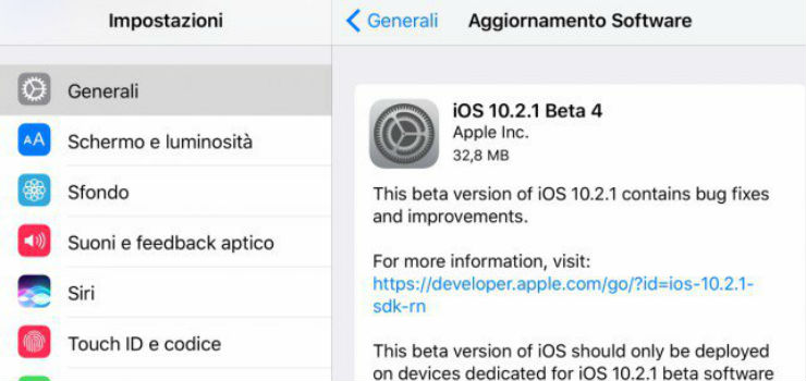 Apple rilascia iOS 10.2.1 beta 4 per iPhone