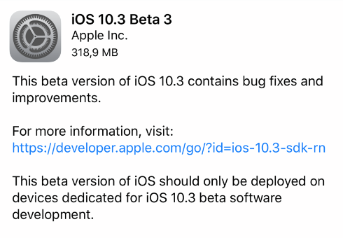 Apple rilascia iOS 10.3 beta 3, watchOS 3.2 beta 3 e tvOS 10.2 beta 3 per sviluppatori!